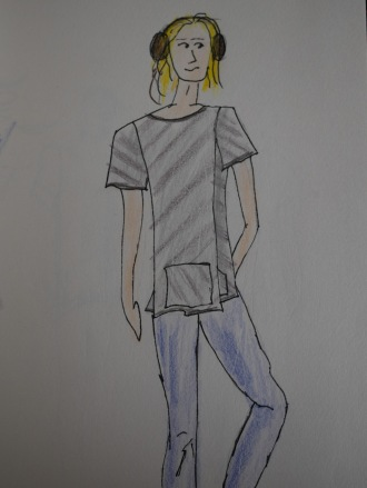 Jersey asymmetric shirt